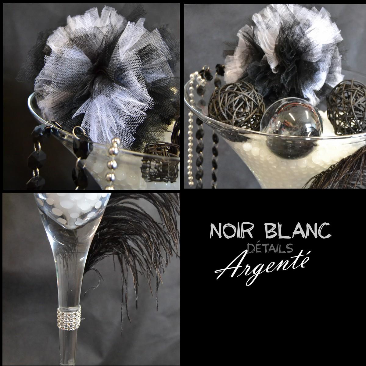 Mariage En Noir Blanc Argent Etoile De Rose  # Verres Noirs Et Blanc