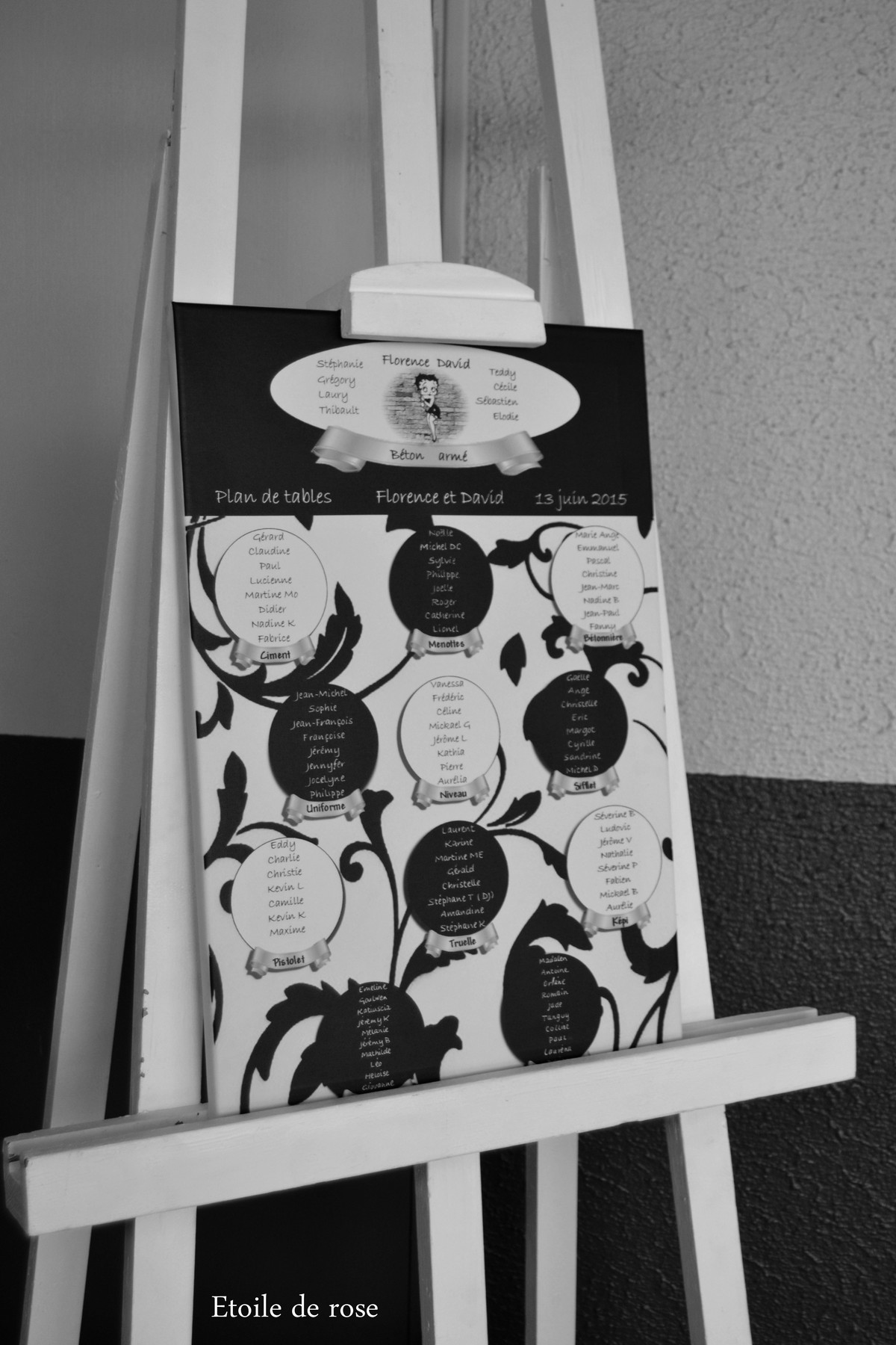 Très Mariage en noir-blanc-argenté | Etoile de rose | CR71