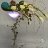 Vase ivoire chocolat touche turquoise