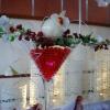 Vase martini en bordeaux blanc