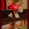 Vase martini LED billes de gel, orchidées