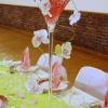 Détail du vase martini vert et rose