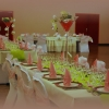 Mariage vert et rose tendre, décoration