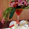 Fleurs fraîches en vase martini de 70 cm de haut