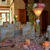 Vase martini rose tendre et or avec lierre