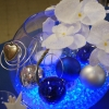 Centre de table en vase boule, bleu argenté