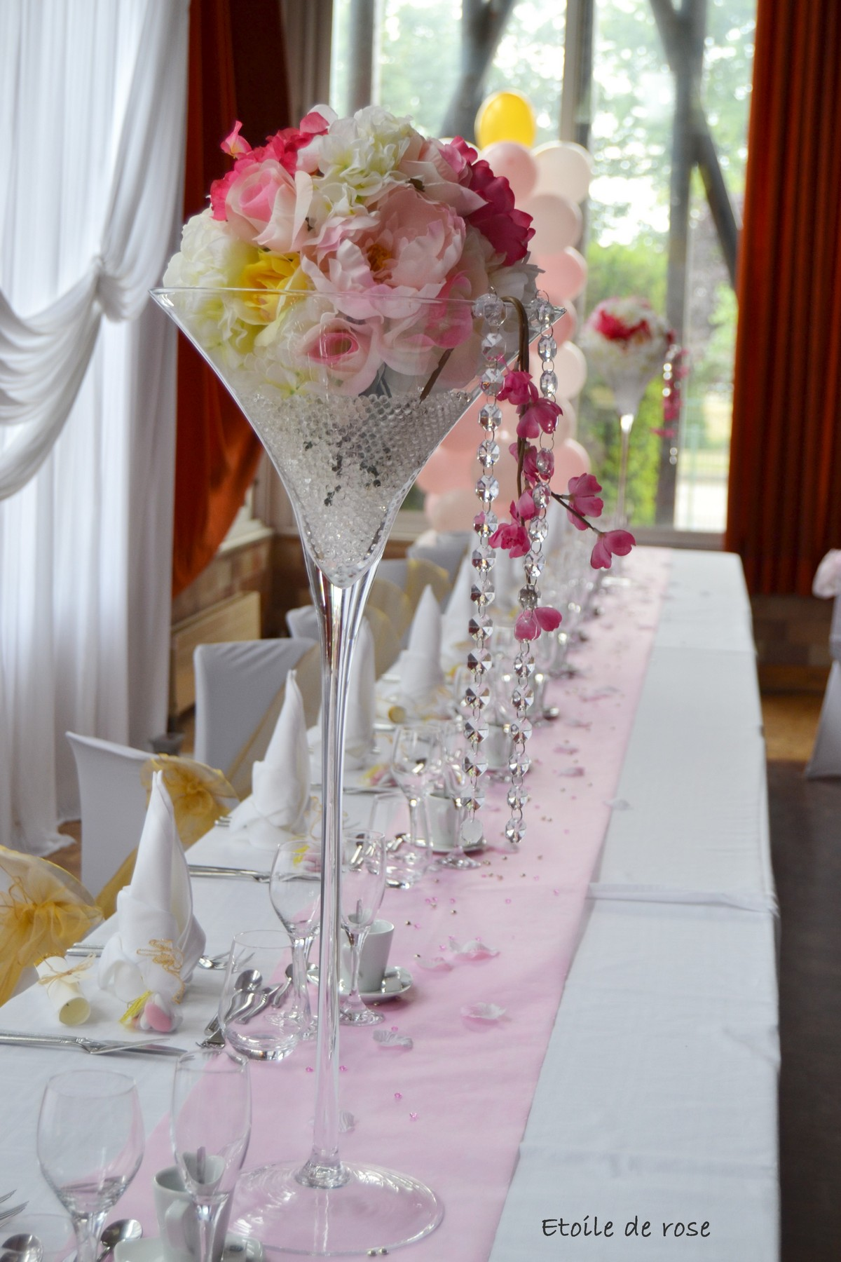 Mariage en rose et or etoile de rose pont sainte marie for Decoration or rose