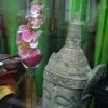 Vitrine voyage en Asie, tête de bouddha