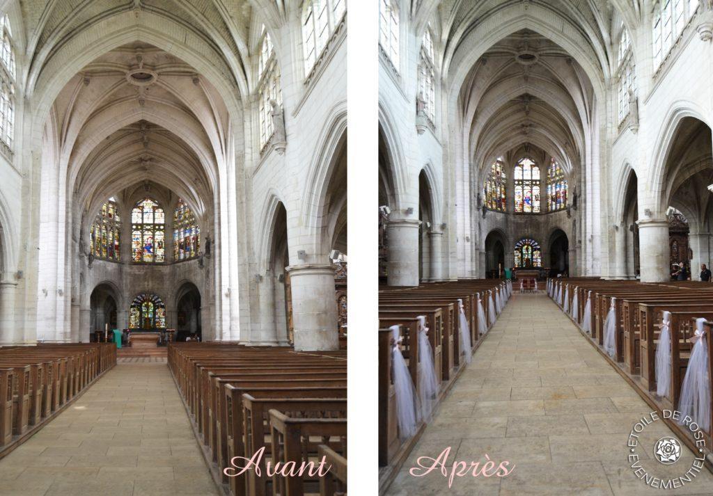 Décoration d'église en taupe et rose