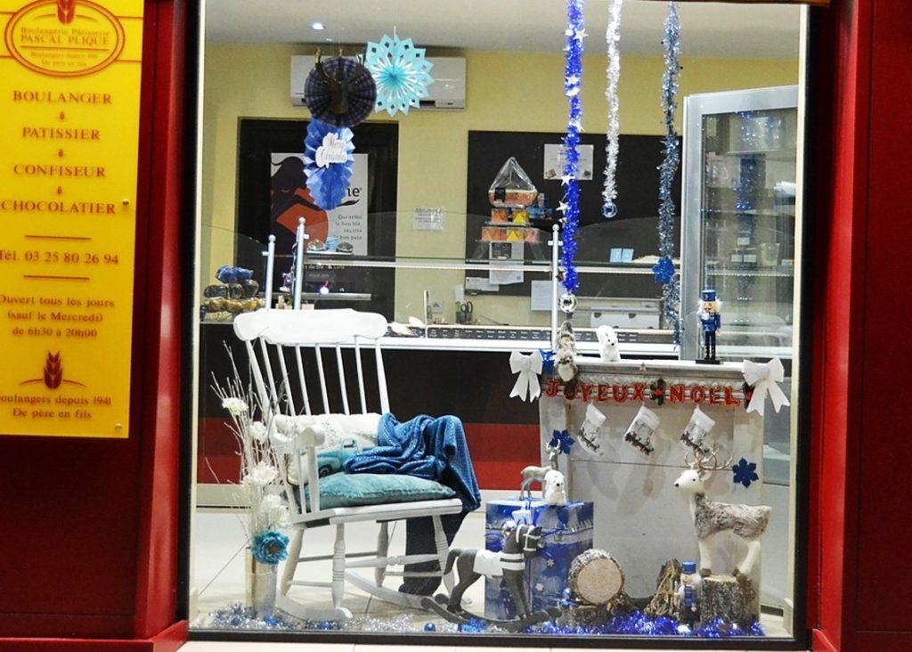 Vitrines de Noël bleu argenté